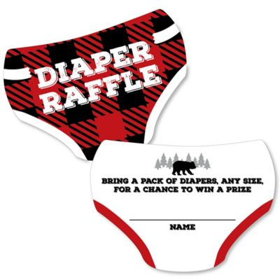 Dot Diaper Set - Lumberjack - Channel The Flannel - Diaper Shaped Raffle Ticket Inserts - Buffalo Plaid Baby Shower Activities - Diaper Raffle Game - Set of 24