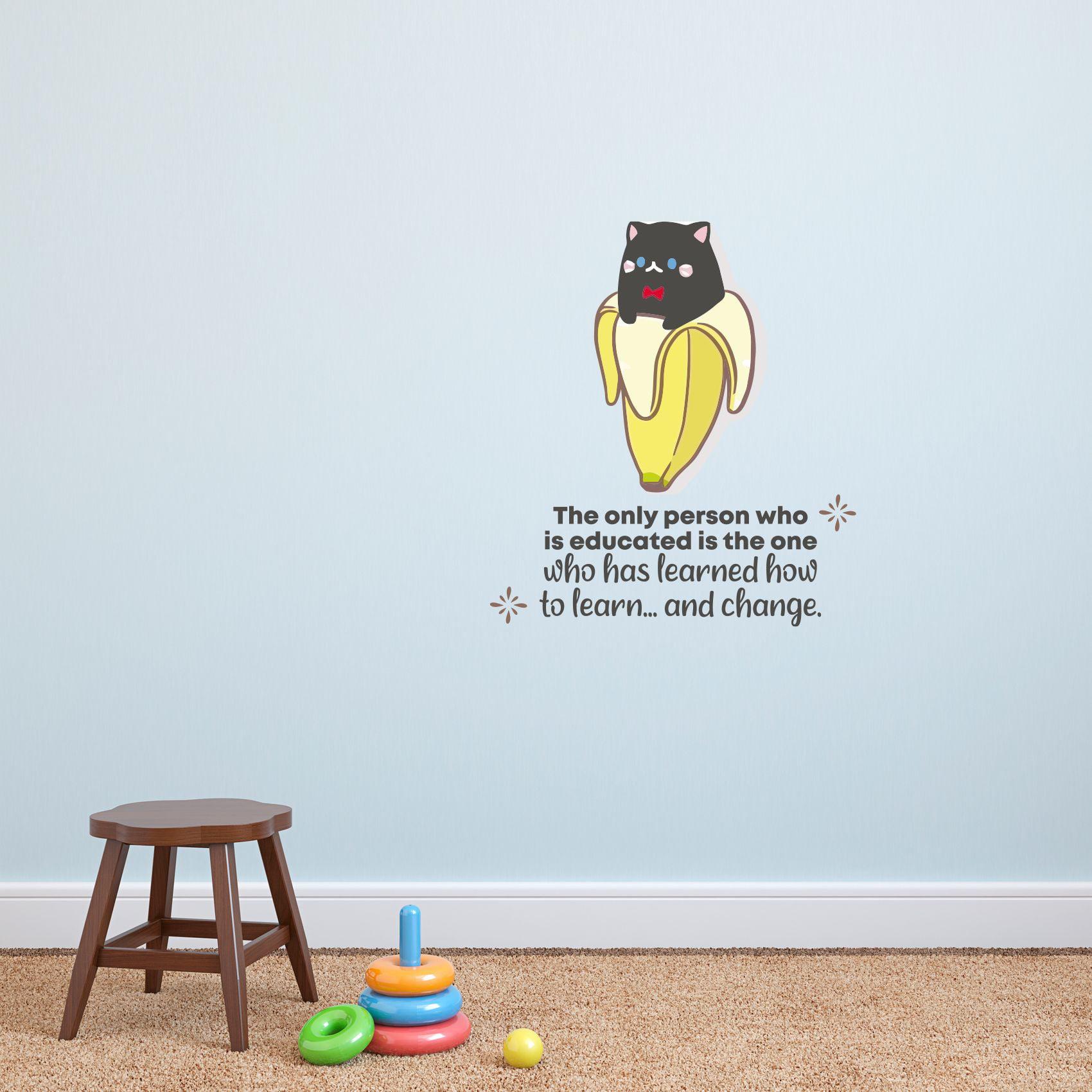Educated Banana Cat Cute Quote Cartoon Quotes Decors Wall Sticker Art Design Decal For Girls Boys Kids Room Bedroom Nursery Kindergarten Home Decor Stickers Wall Art Vinyl Decoration 10x8 Inch Walmart Com