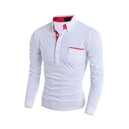 Unique Bargains Men's Long Sleeves Half Button Closed Dots Print Shirt White (Size S / 36)