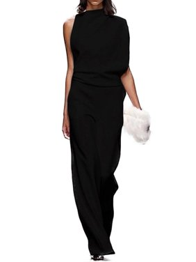 Women's Casual One Shoulder Jumpsuits Formal Evening Party Loose Plain Rompers