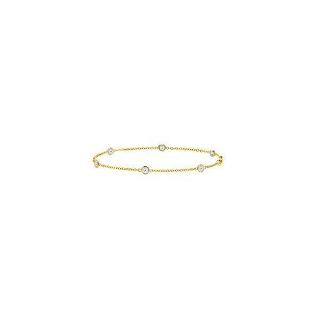 Bezel Set White Sapphire Bracelet Link in Yellow Gold 14k 0.60 CT in 7 Inch - image 4 de 4