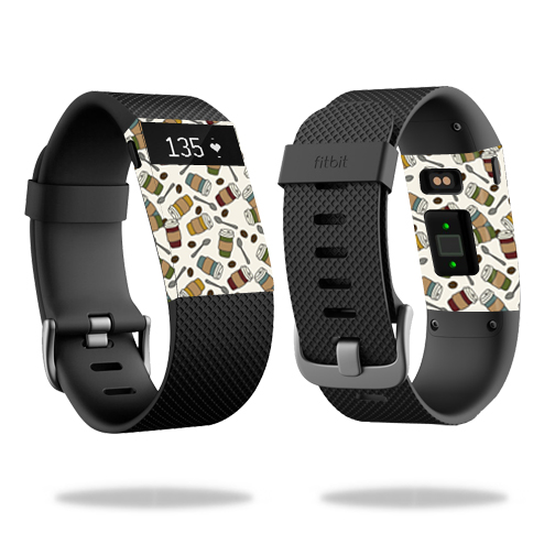 Skin Decal Wrap for Fitbit Charge HR cover skins sticker watch Coffee