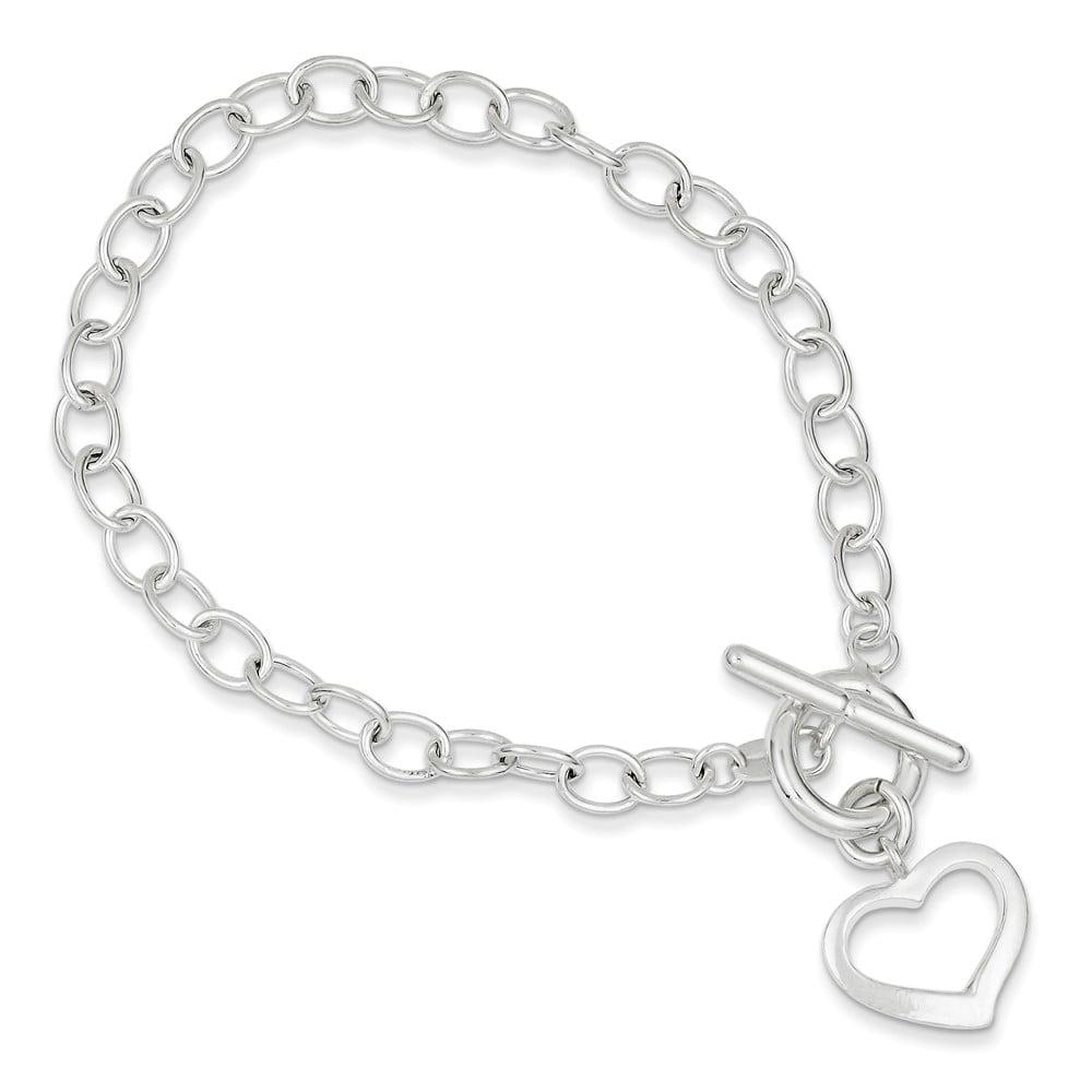 Sterling Silver 8.5in Engraveable Open Link Heart Bracelet