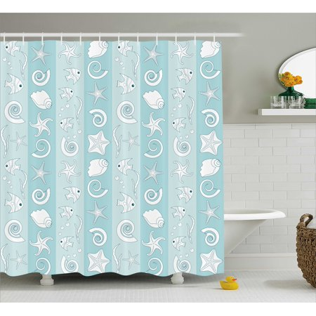 Nautical Shower Curtain, Marine Theme Sea Animals Fishes Shells on Striped Blue Background, Fabric Bathroom Set with Hooks, Baby Blue Pale Blue White, by - Nautical Themed Baby Shower Ideas
