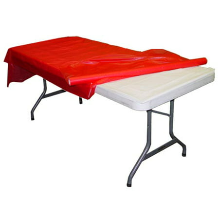 Exquisite 300 ft. x 40 in. Red Plastic Tablecloth Rolls - Red Banquet Table Cover Rolls - Teal Tablecloth