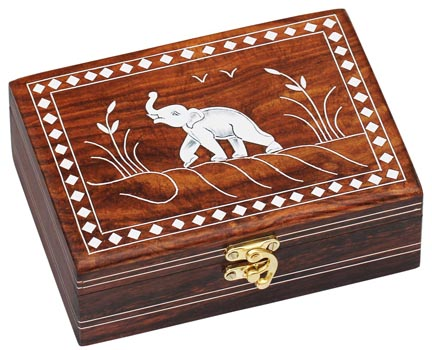 SouvNear Dancing Elephant Wooden Storage Box Handmade Jewelry Box