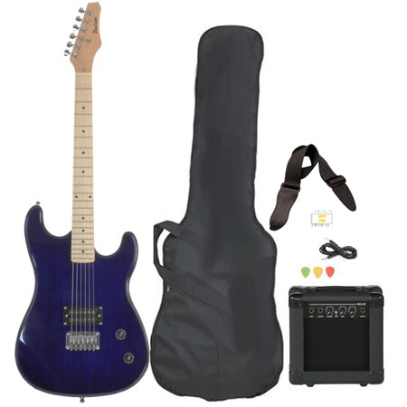 davison guitars electric guitar blue full size with amp case cord strap and picks. Black Bedroom Furniture Sets. Home Design Ideas