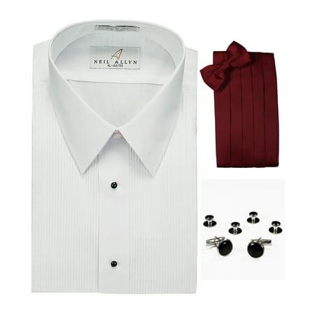 Lay-Down Collar Tuxedo Shirt, Burgundy Cummerbund, Bow-Tie, Cuff Links & Studs Set