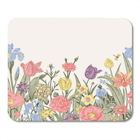 Iris Border - KDAGR Spring Flowers Seamless Floral Border Pastel Poppies Iris Tulips Carnations Mousepad Mouse Pad Mouse Mat 9x10 inch