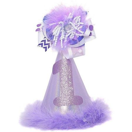 First Birthday Hat (Girls Lavender 1st Birthday Spiral Faux Fur Trim Party)