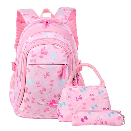 Casual School Bags, Nylon Shoulder Daypack Children School Backpacks for Girls, Pink Nylon Backpack Bag