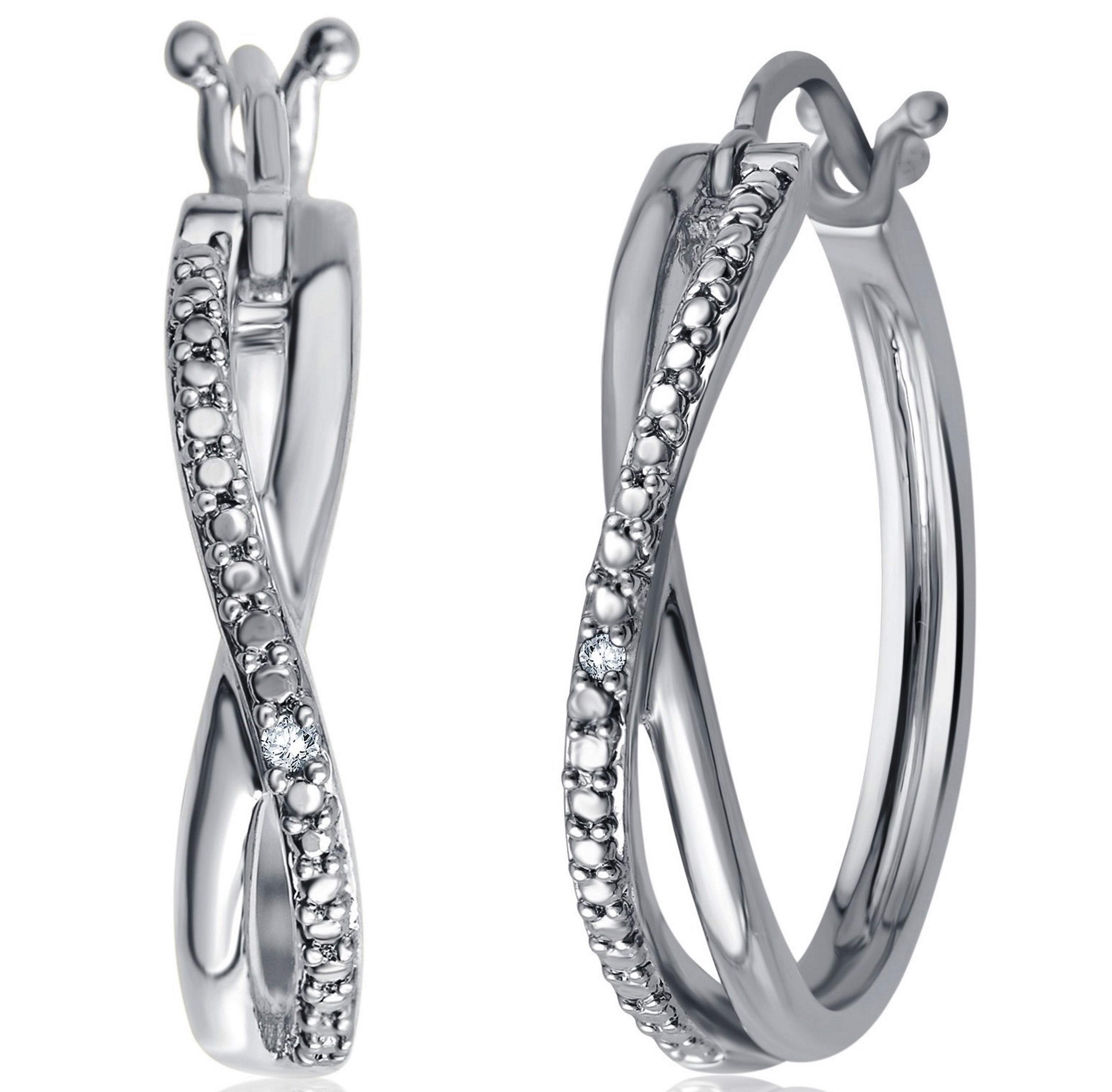 Genuine 0.01 Carat Natural Diamond Accent Twisted Hoop Earrings In 14K White Gold Plated