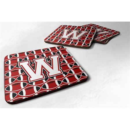 Carolines Treasures CJ1082-WFC Letter W Football Cardinal & White Foam Coaster, Set of 4 - image 1 of 1