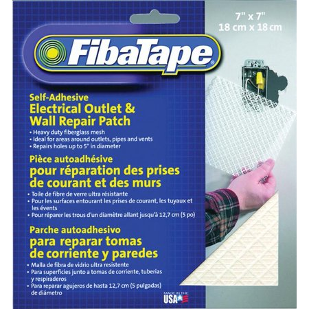 Adfors FibaTape Quadra-Mesh Electrical Outlet Patch, 7 in W x 7 in L, Fiberglass, White