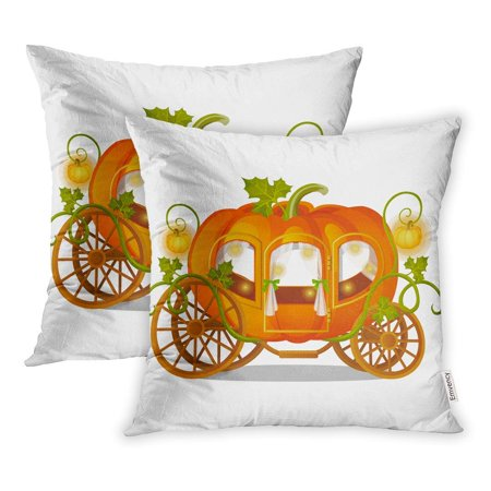 Halloween Carriage (USART Vintage Horse Carriage of Pumpkin Florid Sketch for The Holiday Halloween Pillow Case Pillow Cover 20x20 inch Set of)