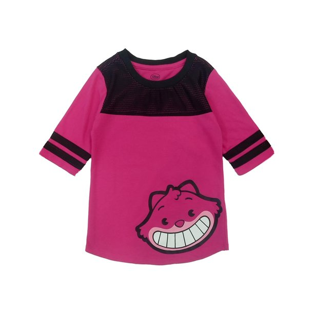 Disney Pink & Black Cheshire Cat T-Shirt Alice In Wonderland Kitty Shirt