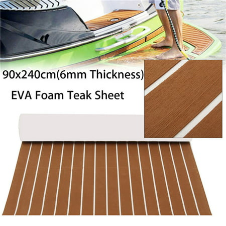 10 Colors Marine Yacht Boat & RV Flooring Sheet Decking Faux Teak EVA Foam Self-Adhesive Mat 94''x35'' / 91''x35'' (Marine Boat Carpet Adhesive)