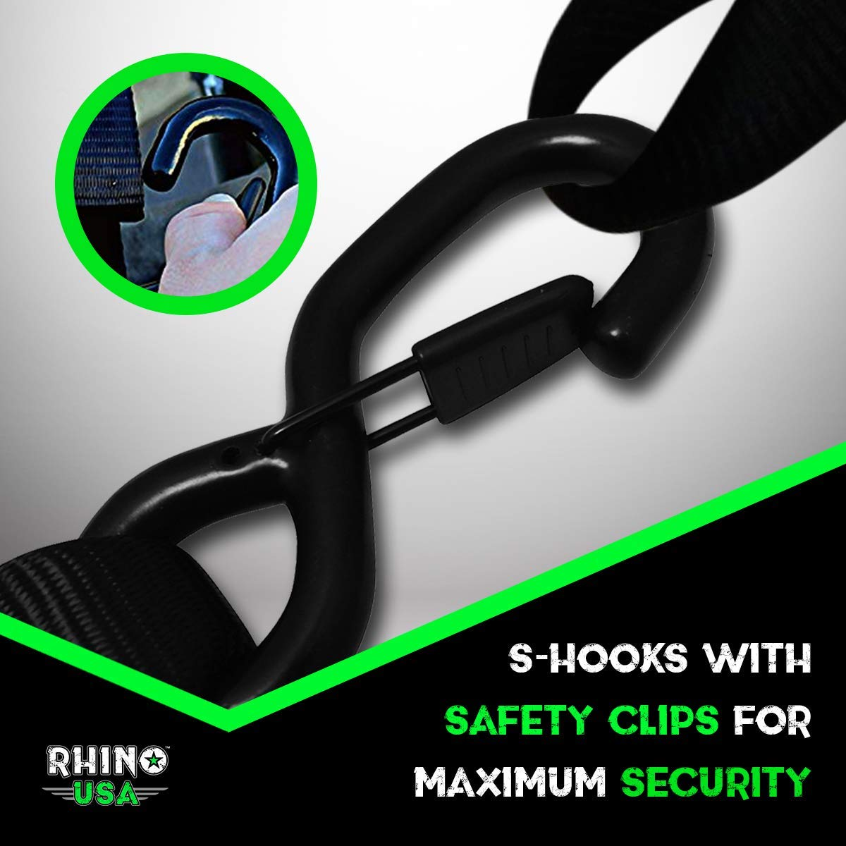 4 5,208 Break Strength - Hea Rhino Usa Ratchet Straps Heavy Duty Tie Down Set
