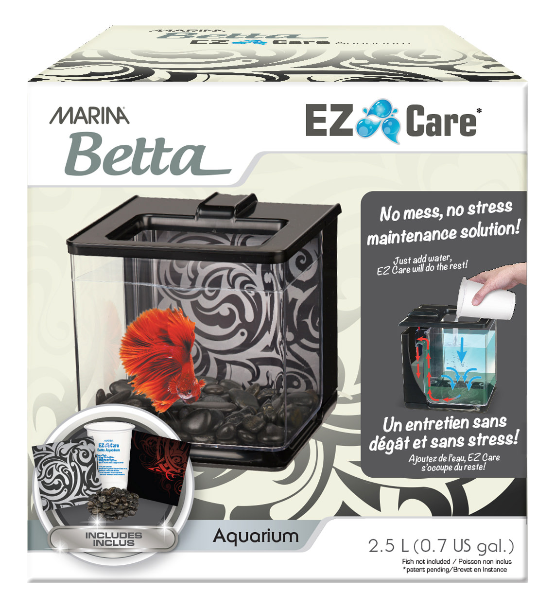 Marina Betta EZ Care 0.7-Gallon Aquarium Starter Kit, Black