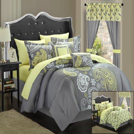 Yellow Comforter - Olivia Paisley Print Grey & Yellow 20 Piece Mega Comforter Bed In A Bag Set