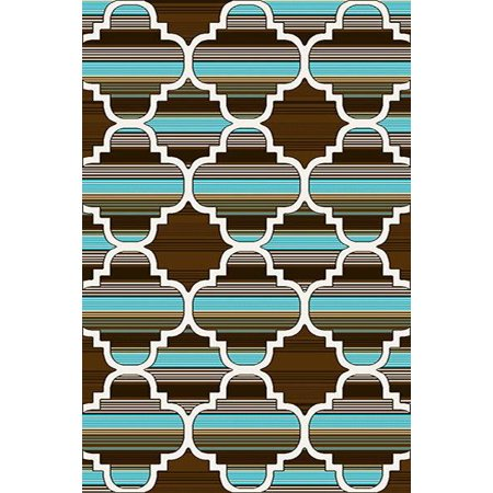 PREMIUM 3D Hand Carved Modern 5x8 5x7 Rug Contemporary 4518 Brown Turquoise ()