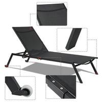 GHP 2-Pcs 352-Lbs Capacity Black Steel Textilene Fabric Adjustable Back Chaise Lounge