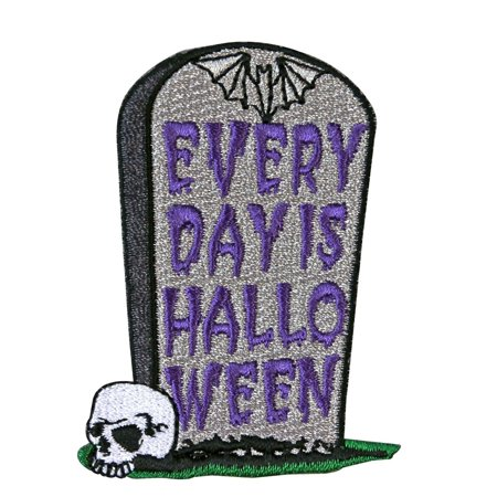 Grave Fun Every Day Is Halloween Tombstone Patch Kreepsville Iron-On Applique](Everyday Is Halloween Mp3)