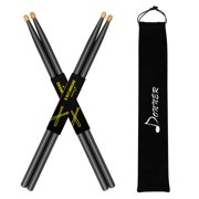 Donner Snare Drum Sticks 5A Classic Maple Wood Drumstick 2 Pair Black with Carrying Bag