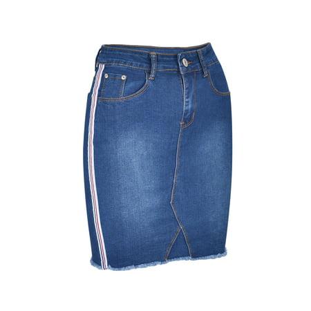 Women's Juniors Above Knee Length Denim Skirt with Racing (Knee Length Jean Skirt)