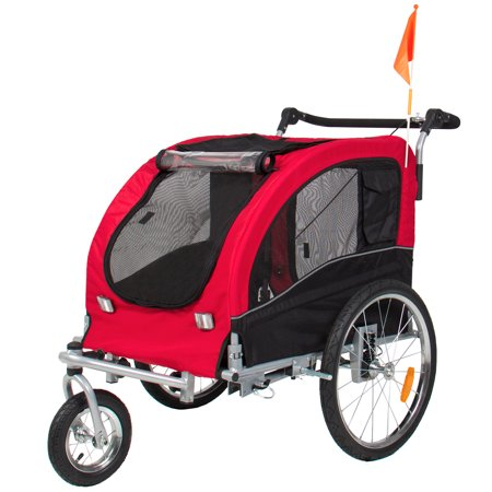 Best Choice Products 2-in-1 Pet Stroller and Trailer, Red, with Hitch, Suspension, Safety Flag, and