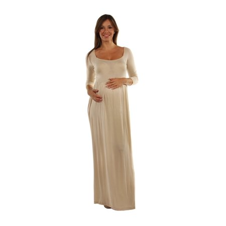 24seven Comfort Apparel Long Sleeve Figure Flattering Solid Color Maternity Maxi (Used Figure Skating Competition Dresses For Sale)
