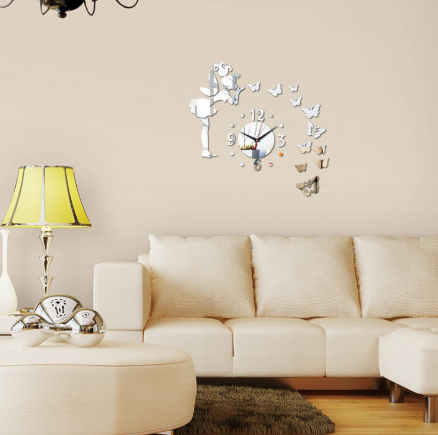 Creative Acrylic Mirror Surface DIY Fairies Butterfly Wall Lock Wall Sticker Living Room Bedroom Hallway Background... by