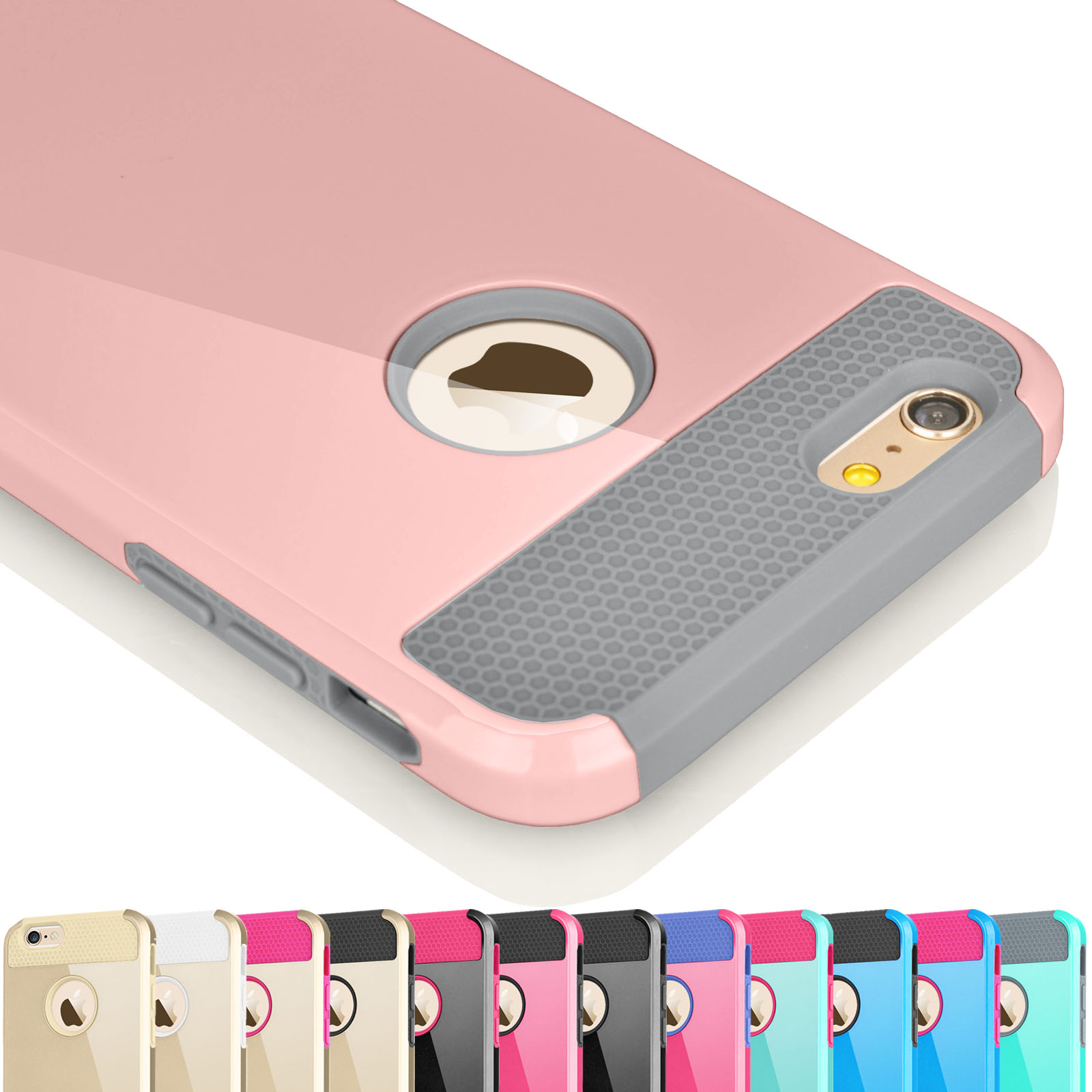 timeless design 729f0 e312f iPhone 6S Case, iPhone 6 Case, Njjex [Rose Gold] Hybrid Shock Absorbing  Impact Defender Slim Hard Case Cover Plastic Shell Outer +TPU Rubber  Silicone ...