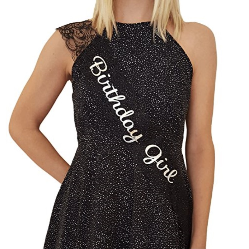 Birthday Girl Lace Sash - Great for Sweet 16, 18th, 21st, 30th, 40th Birthday Parties (Black)