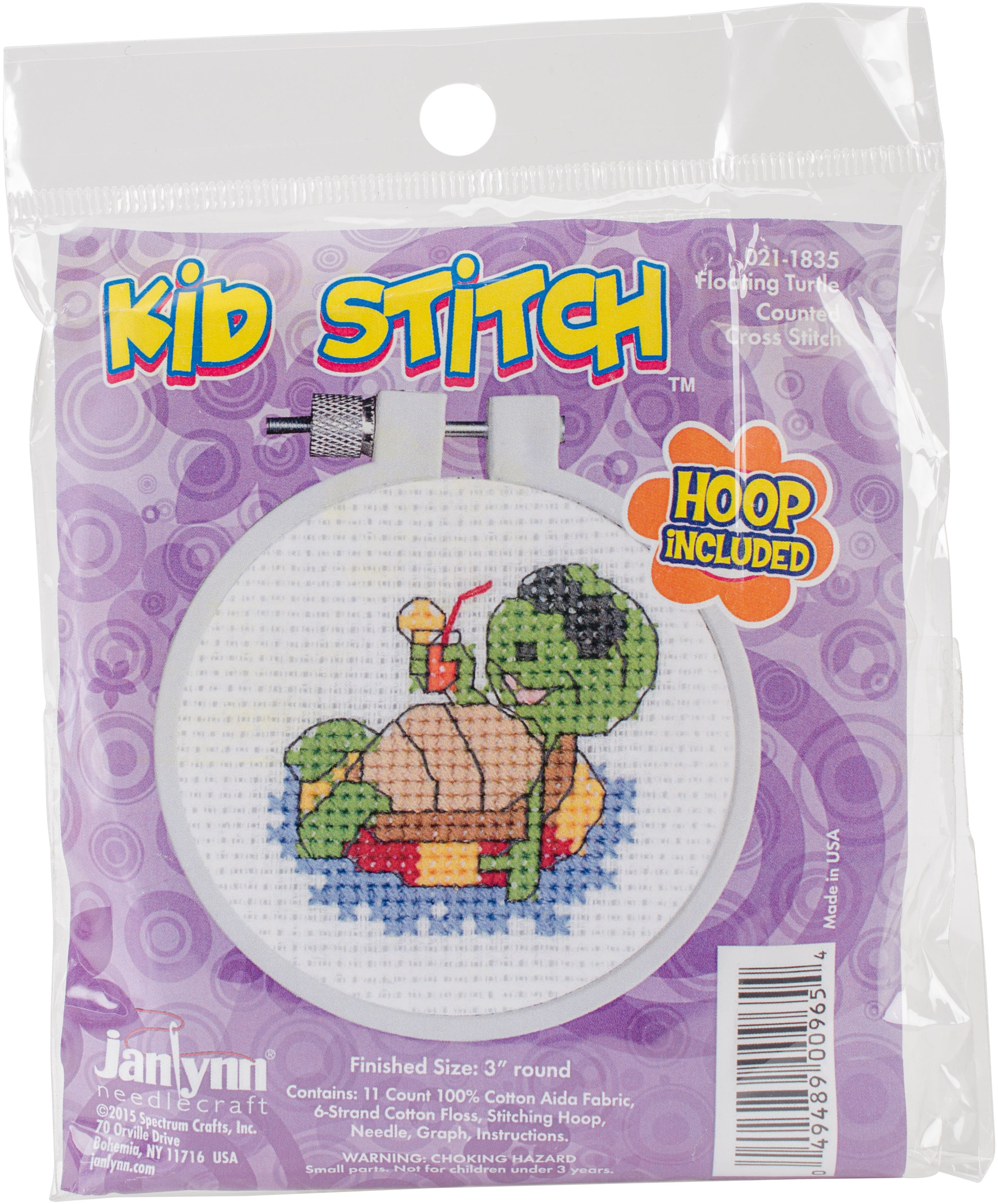 "Janlynn//kid Stitch Mini Counted Cross Stitch Kit 3/"" Round-kitty 14 Count"