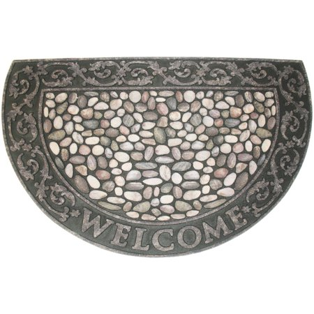 J & M Home Fashions Welcome Pebbles Doormat 23x35 1/2 Round (Round Mast)
