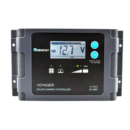 Renogy Voyager - 20A PWM Waterproof Charge Controller w/ LCD Display and LED Bar