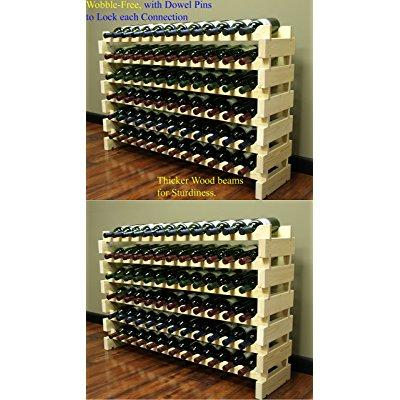 Stackable Modular Wine Rack Stackable Storage Stand Display Shelves, Wobble-Free, Pine Wood, (144 Bottle Capacity, 12 Rows x 12) ()