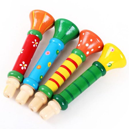 Outtop Multi-Color Baby kids Wooden Horn Hooter Trumpet Instruments Music Toys