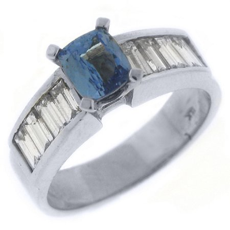 14k White Gold 2.25 Carats Emerald Cut Tanzanite & Diamond Engagement Ring