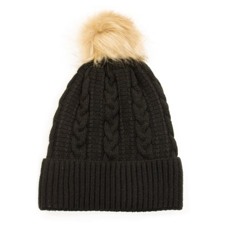 Newbee Fashion - Women Winter Faux Fur Pom Pom Beanie Hat with Warm Fleece Lined Thick Skull Ski Cap Stylish & Warm in Black