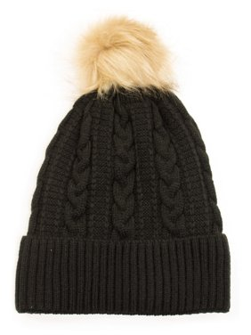 59dd328ef1b Product Image Newbee Fashion - Women Winter Faux Fur Pom Pom Beanie Hat  with Warm Fleece Lined Thick