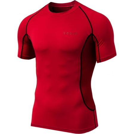 TSLA Tesla MUB73 Cool Dry Short Sleeve Compression T-Shirt - Large - Red/Black