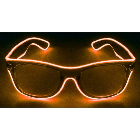GlowCity LED EL Wire Light Up Sunglasses Eyewear Shades For Night Party - Orange