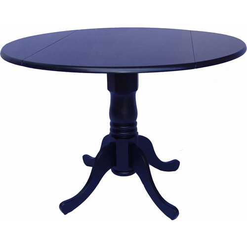 "International Concepts 42"" Round Dual Drop Leaf Pedestal Table, Black"