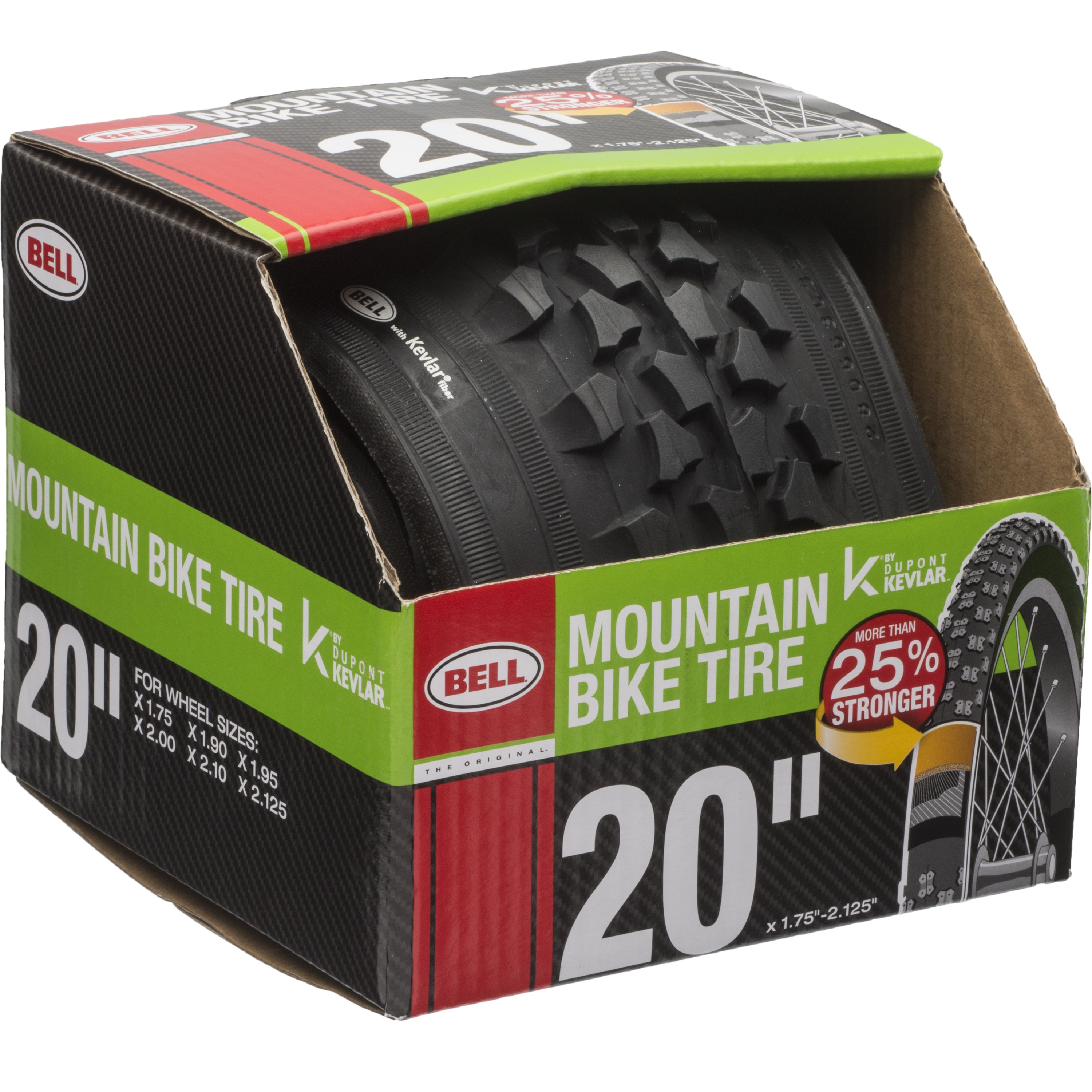 """Bell Sports TRACTION Mountain Bike Tire with KEVLAR, 20"""" x 1.75-2.125"""", Black"""