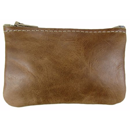 Tan Coin Set - Leather Zippered Coin Pouch Change Holder USA Made, Distressed Tan