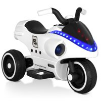 Gymax 6V Kids Ride On Motorcycle 3 Wheels Battery Powered W/ Light Music Toy White