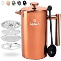 OPUX French Press Coffee Maker | 34 fl oz/1 Liter, Premium Stainless Steel Large Insulated Coffee Press | Double Wall, Extra Filters, Dishwasher Safe