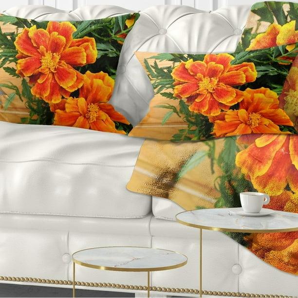 Design Art Designart Marigold Flower On Wooden Background Floral Throw Pillow Walmart Com Walmart Com